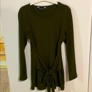 Brody Myles olive green bowed front sweater